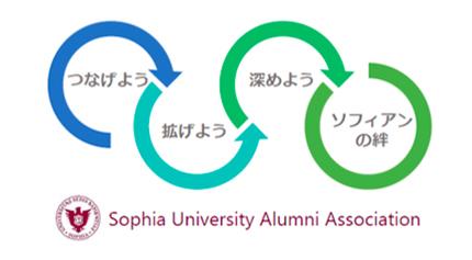 ソフィア会のスローガン「つなげよう、拡げよう、深めよう、ソフィアンの絆」のロゴマークを制作