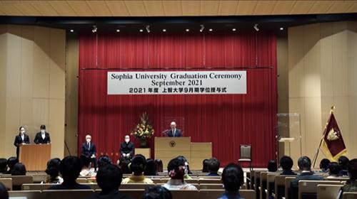 鳥居ソフィア会会長が9月期学位授与式で祝辞